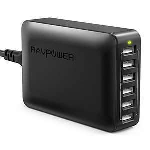 RAVPower Caricatore da Muro da 60W con 6 Porte USB