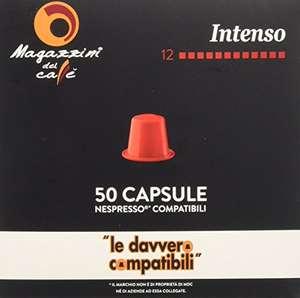 Magazzini del Caffè, 50 Capsule Compatibili Nespresso - Miscela Intenso - Intensità 12 con Retrogusto di Cioccolato - 260 g