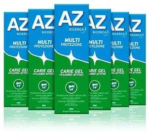 AZ Dentifricio Multi Protezione Carie Gel 6 x 75 ml, Dentifricio al Fluoro per Adulti e Bambini