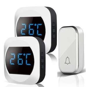 Aibont - 2 Tempo Display a LED e Campanello Wireless Autoalimentato - Nero/Bianco