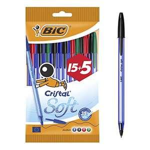 20 x Penne Bic Cristal Soft punta media 1,2 mm