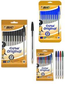 10 penne (Nere/Blu/Assortite) Bic Cristal Original Punta Media 1 mm