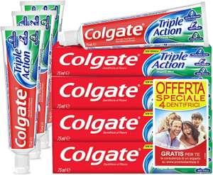 COLGATE Dentifricio Triple Action, Protezione carie, Denti Bianchi, Alito Fresco, 4 x 75 ml