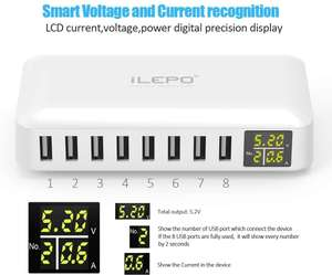 iLepo USB Charging Station 8-Port 50W Max 8A