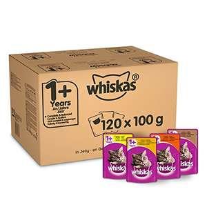 Whiskas 1+ Cibo umido per gatti per gatti adulti, 120 buste (120 x 100 g) totale 12 kg