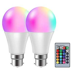 2 Pezzi Lampadina RGB B22 con telecomando 10W