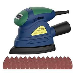 Levigatrice Mouse 13000 RPM, Levigatrice Elettrica con 20 pcs Carte Abrasive, Adattatore per Aspirazione Polvere, Cavo 3 Metri