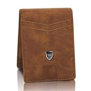 Portafoglio uomo piccolo sottile con Clip per Contanti, Porta Carte di Credito con Protezione RFID, Portafogli Porta tessere slim tascabile