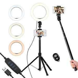 Luce Anello LED 8 Pollici Bastone Selfie 2 in 1 con Telecomando