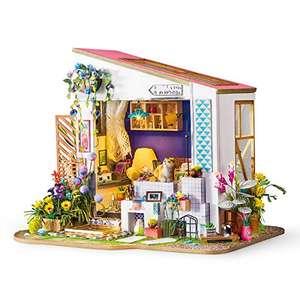Kit casa di Bambole in Miniatura - Camera Carina Regalo per Ragazze - Portico Modello Casa in Legno
