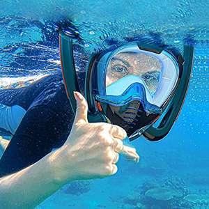 Maschera integrale da snorkeling, professionale, anti-appannamento, doppio canale panoramico a 180