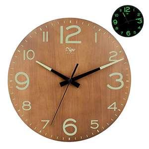 orologio da parete luminoso a batteria, 30,5 cm, silenzioso, in legno, con luce notturna, numeri 3D