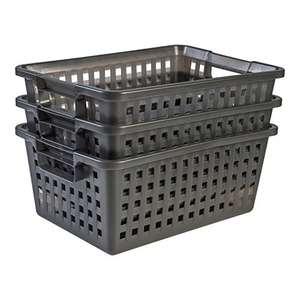 Amazon Basics set di 3 cestelli - VM-40, in plastica, grigio grafite, 25 L, 44 x 32,5 x 19 cm