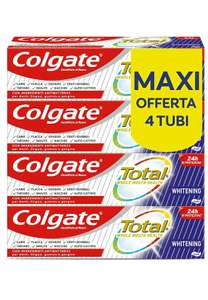 Colgate Total Dentifricio Sbiancante con Ingredienti Antibatterici Total Whitening 4 x 75 ml