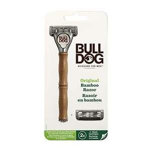 Rasoio Bulldog Orginal Bamboo - Confezione con 1 rasoio per uomo con manico in bamboo + 2 ricariche
