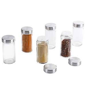 6 Vasi da Condimento Rotondi in Vetro