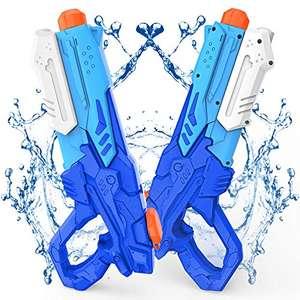 Kiztoys Pistola Acqua, 2 Pack Giocattoli Pistole ad Acqua 600ML, con Alta Capacità super liquidator, Acqua Giocattolo per Bambini e Adulti