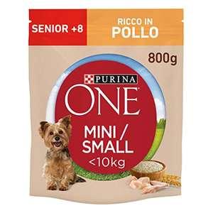 8 sacchi da 800 g ciascuno PURINA ONE MINI < 10kg Crocchette Cane Senior 8+ Ricco in Pollo, con Riso