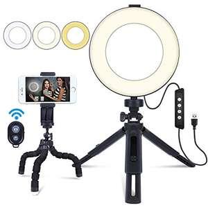 """Luce ad Anello MACTREM 6"""" Ring Light LED Dimmerabile con treppiede e telecomando"""