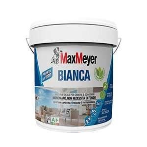 MaxMeyer Pittura per interni Bianca Lavabile Monomano, 2 in 1: fissativo e pittura, per camere e soggiorni 14 l