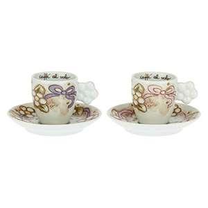 THUN - Set 2 tazzine caffè - Cucina, caffè al Volo - Idea Regalo - Linea Cerimonia - Porcellana - 100 ml; Ø 6 cm; h 6 cm; piattino Ø 12 cm