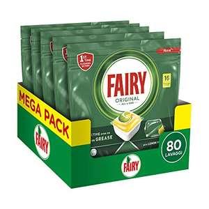 Fairy Original Tutto in Uno Detersivo Capsule Lavastoviglie, 80 Cicli (5 x 80 Pastiglie),