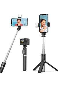 ARTOFUL Bastone Selfie Treppiede con Luci Treppiede Smartphone con Telecomando Wireless Rotazione a 360°