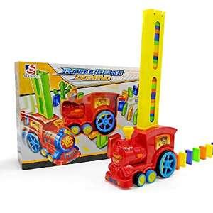 Domino - Set di giocattoli per treno elettronico, modello colorato, per ragazze, ragazzi e bambini, giocattolo (rosso)