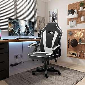 Sedia da gaming ergonomica da scrivania, sedia da ufficio, con supporto per lordosi, in pelle PU con sedia da lavoro regolabile (bianco)
