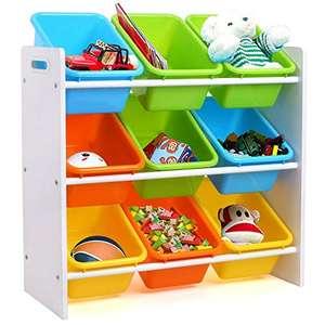 Scaffalatura per Bambini con 9 cassetti in plastica, per Giocattoli, per Bambini, con scatole portaoggetti, 65 x 26,5 x 60 cm