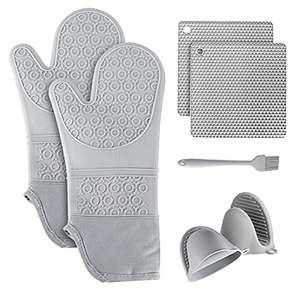 Set di 7 guanti da forno, resistenti al calore, da cucina, con silicone, antiscivolo