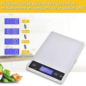 Bilancia da Cucina, Smart Digitale Bilancia con Funzione Tare Con USB, 15kg/33lbs(1g-15kg)Acciaio Inox Alta Precision