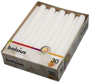 Bolsius - Candele a punta, 245/24 mm, 30 pezzi, colore: Bianco