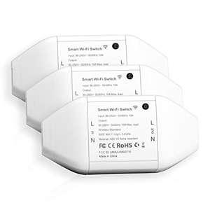 Interruttore Intelligente Smart Switch WiFi Telecomando Wireless Universale, Funzione Timer, Controllo Remoto e Vocale, 3 Pezzi