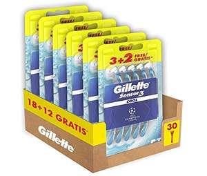 Gillette Sensor3 Cool, Rasoio a Mano Libera, 30 Lamette di cui 12 Gratis, Testina Oscillante,