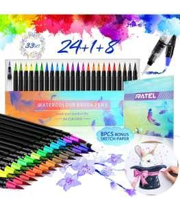 RATEL 24 Pennarelli per acquerello con punta in nylon flessibile