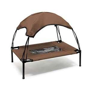 Brandina per cani animali branda lettino con tettuccio parasole cuccia da spiaggia M Marrone