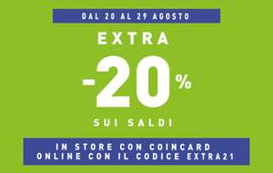 COIN : EXTRA -20% DI SCONTO SUI SALDI   online e in negozio con card