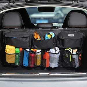 Organizer per bagagliaio da auto, super capiente, con 7 tasche ingrandite, 2 lunghe bacchette magiche, borsa portaoggetti per bagagliaio