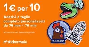 10 Adesivi Personalizzati 1€