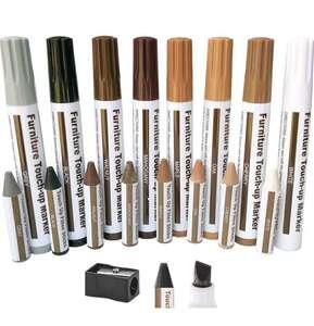 Kit di Riparazione per Legno 8 Pennarelli + 8 Bastoncini di Cera in 8 Colori per riparare graffi, fori, crepe, ecc.
