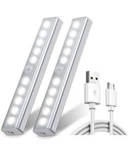 Set di 2 Luci LED con Sensore di Movimento PIR e Sensore Crepuscolare ricaricabili