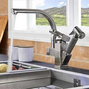 Miscelatore rubinetto lavello cucina estraibile doccetta canna flessibile ottone