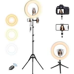 """Ring Light 10""""con Treppiedi Regolabile 1.9m per Tik Tok, Youtube, Live stream, Luce per Selfie Grande con Telecomando Bluetooth"""