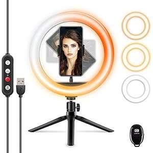 Anello Luce LED 25,4 cm con treppiede e supporto per telefono, 3 modalità di illuminazione e 10 livelli di luminosità