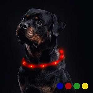 Collare Luminoso per Cani per 20 Ore di Luce Continua Impermeabile, Ricaricabile USB Rosso