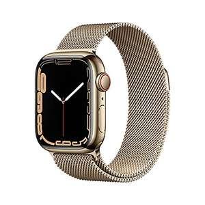 Apple Watch Series 7 (GPS + Cellular) Cassa 41 mm in acciaio inossidabile color oro con Loop in maglia milanese color oro