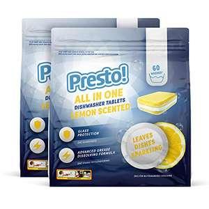 120 pastiglie lavastoviglie Presto! Tutto-in-uno al limone, confezione da 2 x 60 - 120 lavaggi