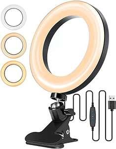 Luce per Selfie, Monitor ad Anello LED per Foto con Clip Telecomando 3 modalità 10 Livelli per video di trucco streaming foto selfie