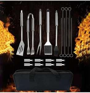 Kit Barbecue 20 Pezzi Utensili in Acciaio Inossidabile